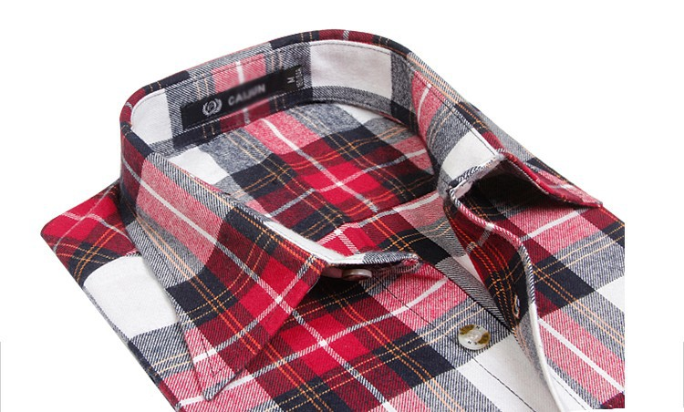 Men's Long Sleeve Plaid Shirts Flannel (12)