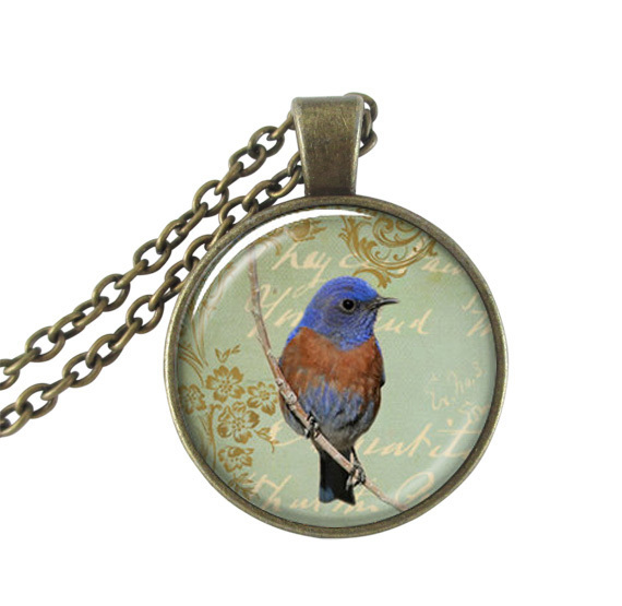 Blue bird necklace animal pendant bird sit on branch photo necklace glass dome pendants necklaces women neckless bird lover gift(China (Mainland))