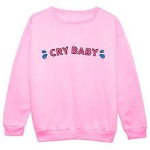 Crybaby Crunchberry Crewneck Sweatshirts CRY BABY LOVE PINK Sweats Jumper Outfits Women Hoodies Pullover Free Shipping(China (Mainland))