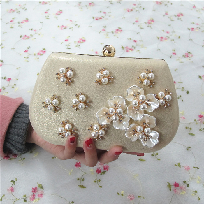 Women Rhinestones Beaded Pearl HandBga with Chains Gold Evening Clutch Bag Mini Wedding Party Prom Hardware Handbag Day Clutches(China (Mainland))