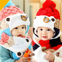 Winter Baby Hat and Scarf Cute Bear Crochet Knitted Caps for Infant Boys Girls Children Kids Neck Warmer(China (Mainland))