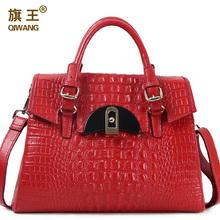QIWANG GG Brand Women Bag Crocodile Handbags C Lock Closure Tote Purse Crossbody Genuine Leather Bag Crocodile Large