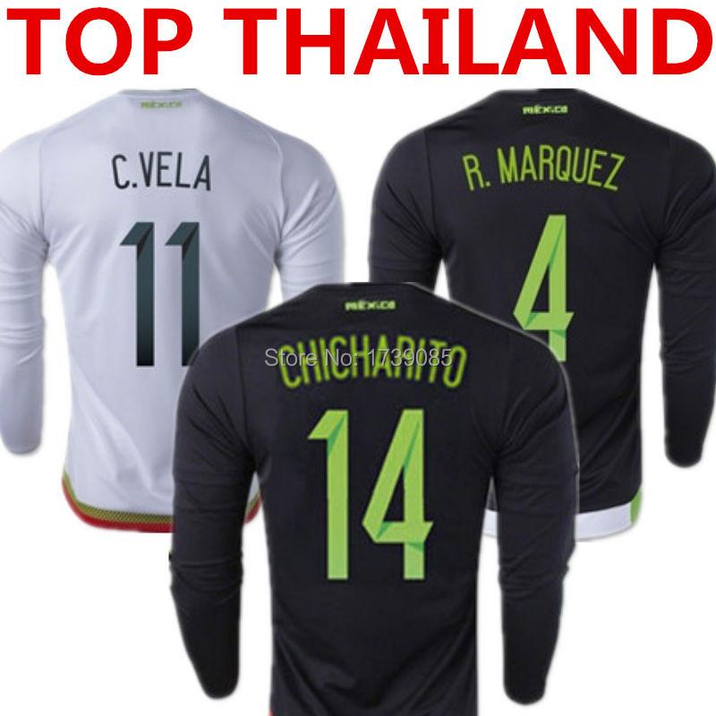 2015 Mexico Long Sleeve Jersey 15/16 Mexico Long Sleeve Soccer Jersey G.DOS SANTOS CHICHARITO Home Away Mexico Black White Shirt(China (Mainland))