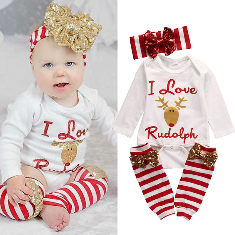 New Autumn Winter Newborn Infant Baby Girl Christmas Suit Long Sleeve Deer Romper+Leg Warmer+Headband Xmas Outfit Set Clothes 21