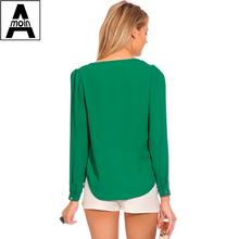 Women Blouses New 2015 Autumn Fashion V Neck Long Sleeve Blouses Shirts Female Chiffon Top Women