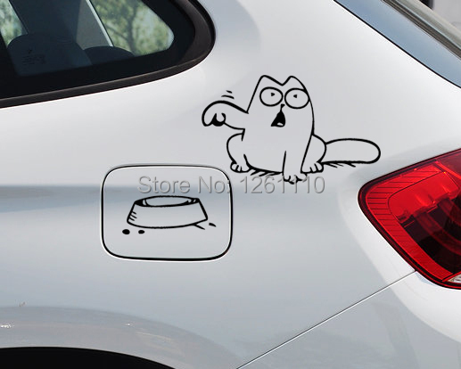 Hungry Simons Cat Bowl JDM Decal Funny Gas Fuel Tank Cap Cover Vinyl Sticker For Car Truck SUV Window Bumper Wall Glass Laptop<br><br>Aliexpress