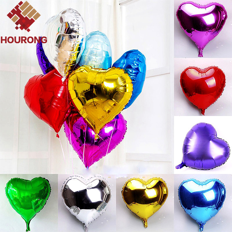 10Pcs/Pack Foil Heart Balloon For 5 Colors Children Toy Gift Helium Metallic Birthday New Year party Wedding Decoration Balloon(China (Mainland))