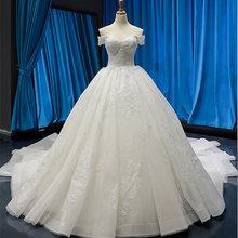 J66814 jancember suknia balowa suknie ślubne dla panny młodej off the shoulder dekolt w łódkę księżniczka suknie ślubne vestido de noiva praia(China)