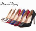 Free Shipping women s classic silk stain diamond buckle wedding heels female fashion silk stian buckle