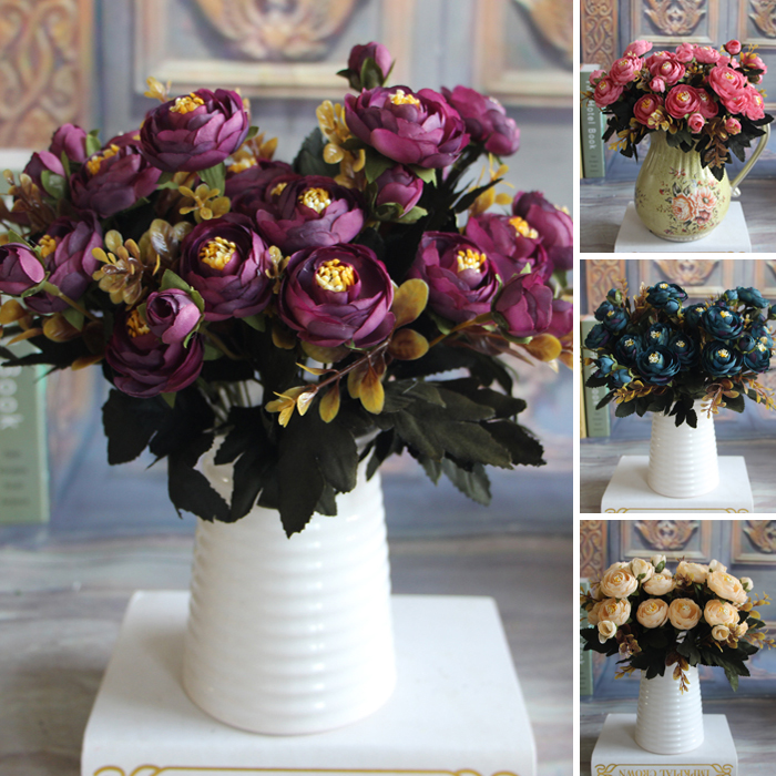 Hot Vivid 6 Branches Autumn Artificial Fake Peony Flower Posy Home Room Bridal Hydrangea Decor Real Touch(China (Mainland))