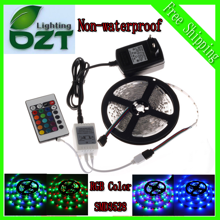 RGB LED Strip 5M 300Led 3528 SMD 24Key IR Remote Controller 12V 2A Power Adapter Flexible Light Led Tape Home Decoration Lamps(China (Mainland))