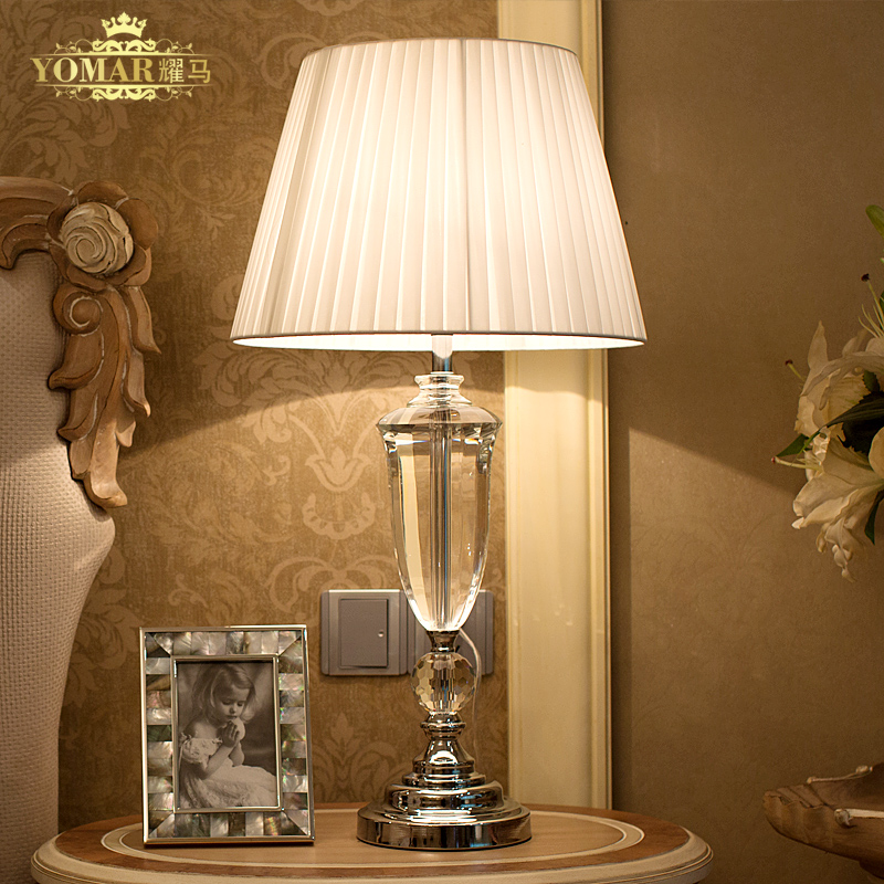 Abajur de mesa lamparas europe brief crystal bedside lamp - Lamparas de noche ...