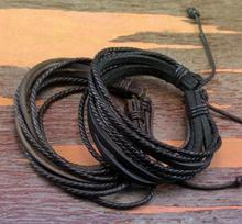 12 Pcs Loves Wristband Bangle Wrap Multilayer Black Browen Genuine Leather Braided  Adjustable Cuff Braceelet For Men Women(China (Mainland))