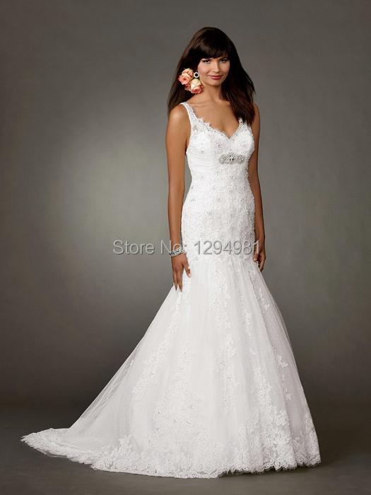 Beautiful white tulle lace slim mermaid wedding dress v for Slim white wedding dresses