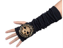 Free shipping Restyle Gothic Punk Cotton Arm Warmers Bling skull Tactical Gloves Korean street Harajuku Steampunk motorcycle(China (Mainland))