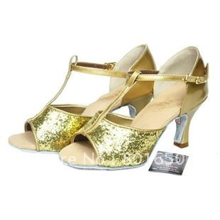 FREE SHIPPING New women's GOLD PU glitter sequined latin salsa dance shoes ballroom shoes 5cm/7cm heels