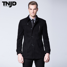 2015 Conventional Velour Top Limited Mens And Coats Coat Men Tony Tnjd Single Breasted Male Trench Medium-long Winter Commercial (China (Mainland))