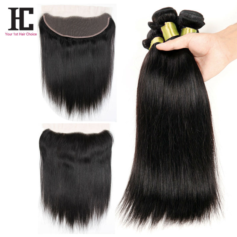7A Human Hair With Closure Lace Frontal Straight Brazilian Hair Bundles With Closure Top Ear To Ear Lace Frontal With 3 Bundles<br><br>Aliexpress