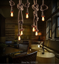 Vintage Rope Pendant Light Lamp Loft Creative Personality Industrial Lamp Edison Bulb American Style For Living Room(China (Mainland))