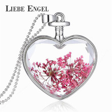 Buy LIEBE ENGEL Romantic Red Dried Flower Collares Vintage Silver Color Jewelry Women Fashion Glass Statement Necklace Fine Jewelry for $1.92 in AliExpress store