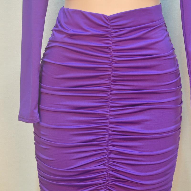 Women Two Piece Outfits Clubwear Sexy Club Wear Pleated Party Dresses Plus Size Vestidos Purple High Waist Winter Bodycon Dress