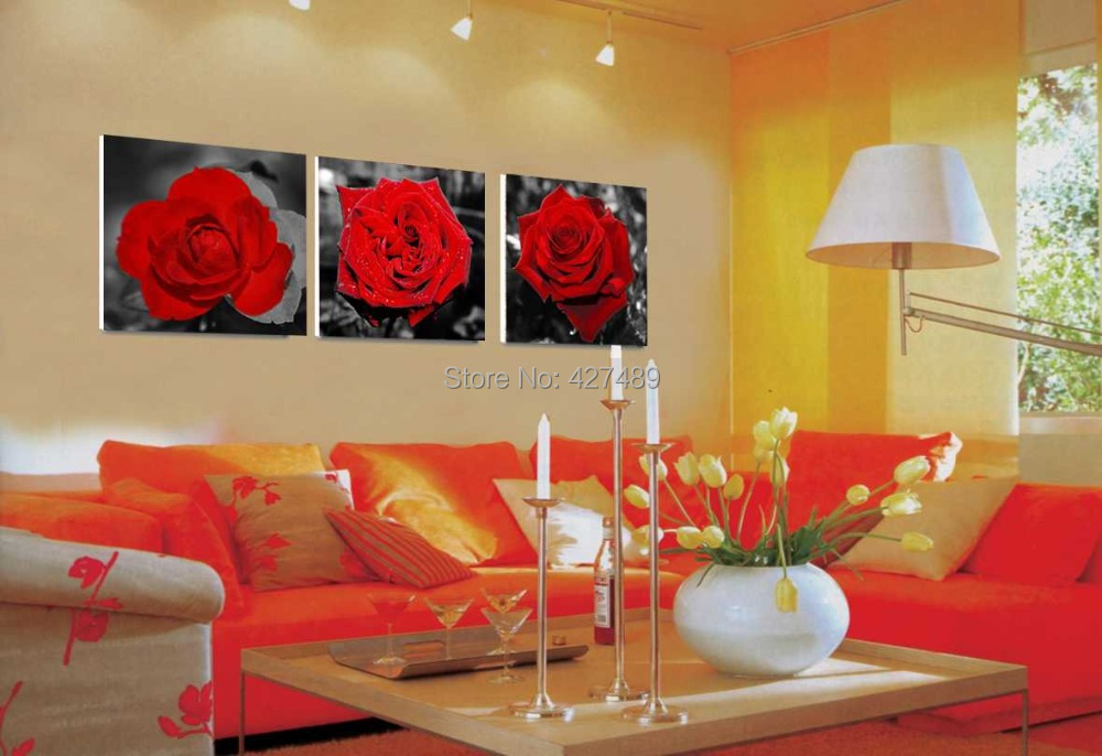 3 Panel modern wall art home decoration frameless oil painting canvas prints pictures P479 abstract red rose living room decor - Ann Taylor's Store store