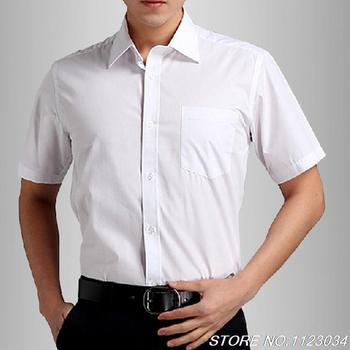 Pure white short-sleeve shirt for men and women lady white short-sleeved dress shirt collar shirt Men commuter overalls
