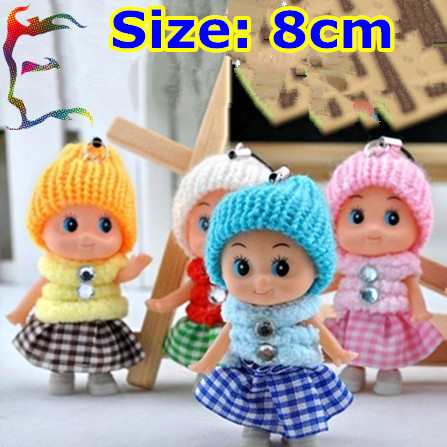 Wholesale 50pcs/Lot fashion Baby Doll mobile phone charm 8cm pendant cartoon bobby Christmas gift key charm girl cute jewelry(China (Mainland))