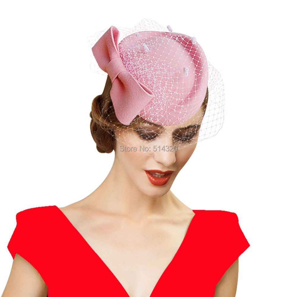 A082 pink womens dress fascinator wool felt pillbox hat for Dress hats for weddings