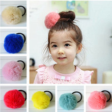 Lovely Geniune Real Rabbit Fur Cute Round Pom Ball Girl's Lovely Hair Ties Ropes Kids Accessories(China (Mainland))
