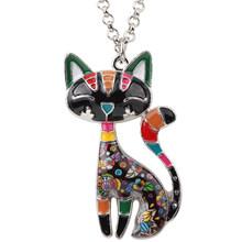 Bonsny Statement Besar Enamel Kucing Kalung Liontin Perhiasan Choker Rantai Kerah Liontin 2018 Baru untuk Wanita Bijoux Aksesoris(China)