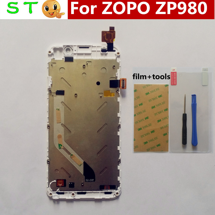 In Stock! 100% Original New ZOPO ZP980 LCD Display +Digitizer Touch Screen Glass with frame for ZOPO ZP980 ZP980+ C2 C3 White