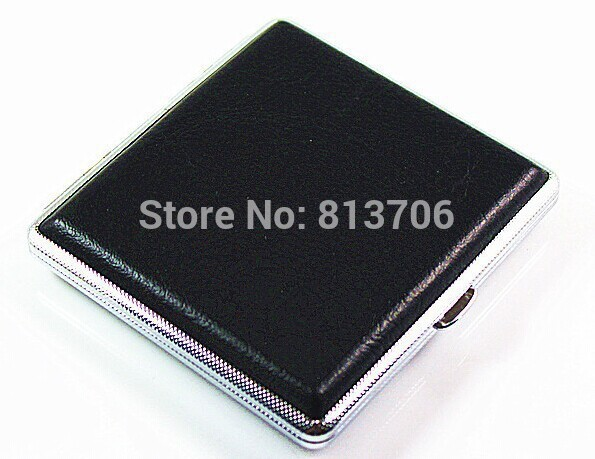 2016 Special offer! Leather 20 Filter Business Black Cigarette Case Box Metal WT1256 - jim yue's store