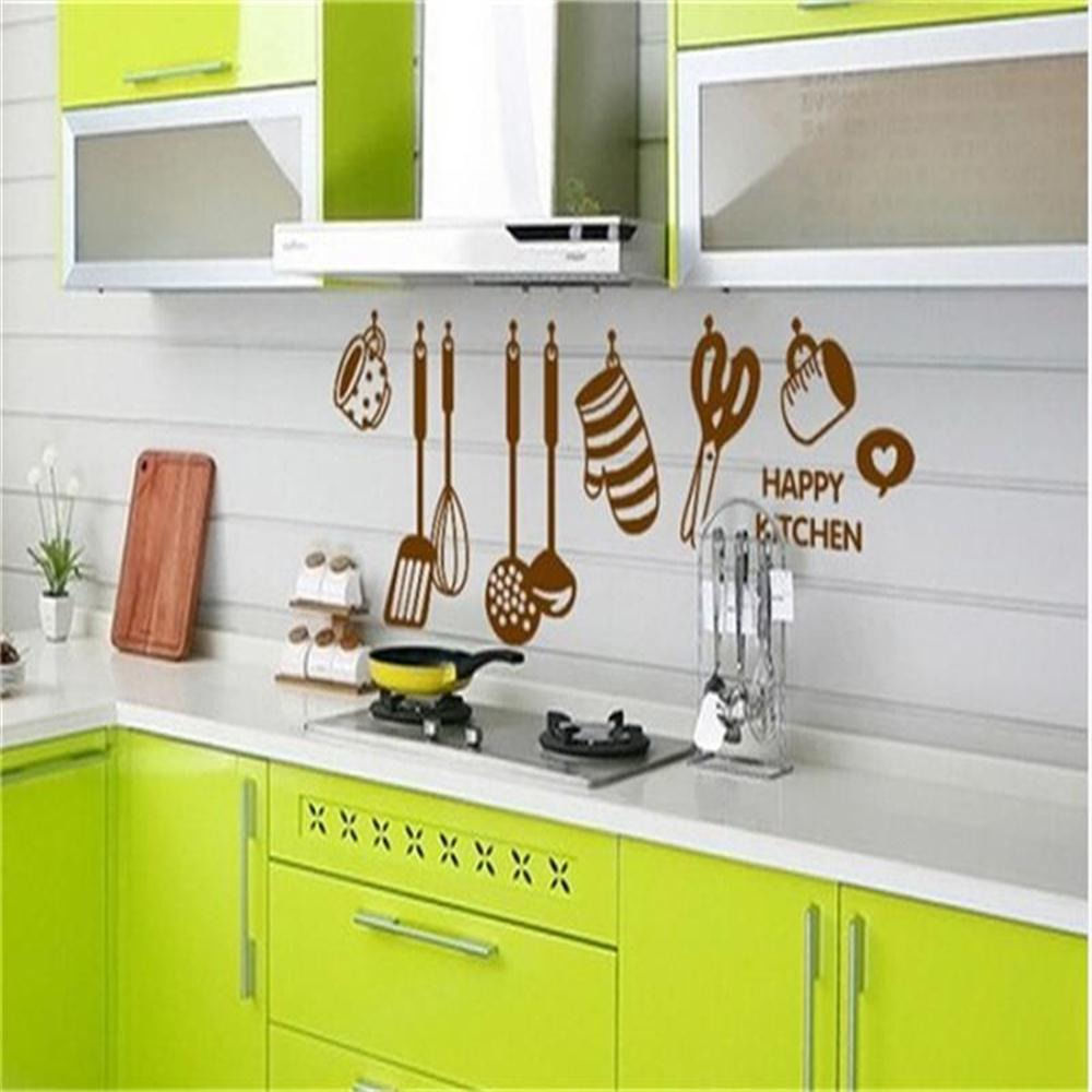 Creative Kitchen Wall Decor: 2015 Creative Kitchen Utensils Vinyl Wall Decal Happy Kitchen PVC Mural Art Wall Sticker Kitchen