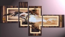 FRAMED handmade oil painting on canvas modern african landscape art 100% original directly from artist(China (Mainland))