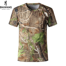 BROWNING men t-shirt quick dry browning camouflage T-shirt Men Short Sleeve Outdoor Sports Anti-sweat Hunting T Shirt plus size