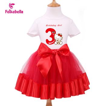 Girls Clothing Sets Kids Short Sleeve Cotton T-Shirt +Chiffon Dress Children's Birthday Party Clothes Princess Costume Dresses