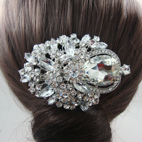 Crystal Bridal Wedding Hair accessories Bridal Flower Hair Comb Bridal Headdress Jewelry Rhinestone Crystal(China (Mainland))