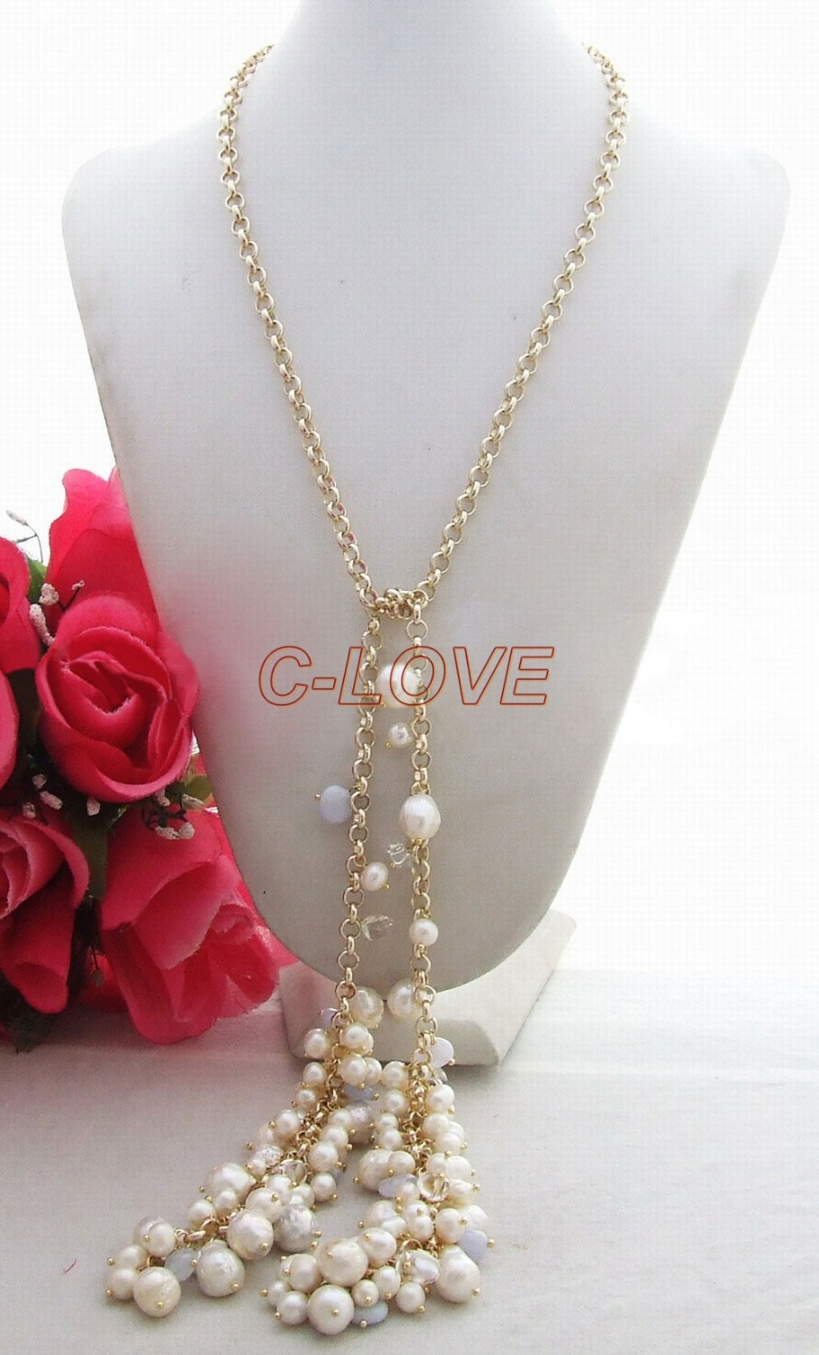 Excellent! 10mm Pearl&Blue Chalcedony&Chain Necklace free +shippment(China (Mainland))