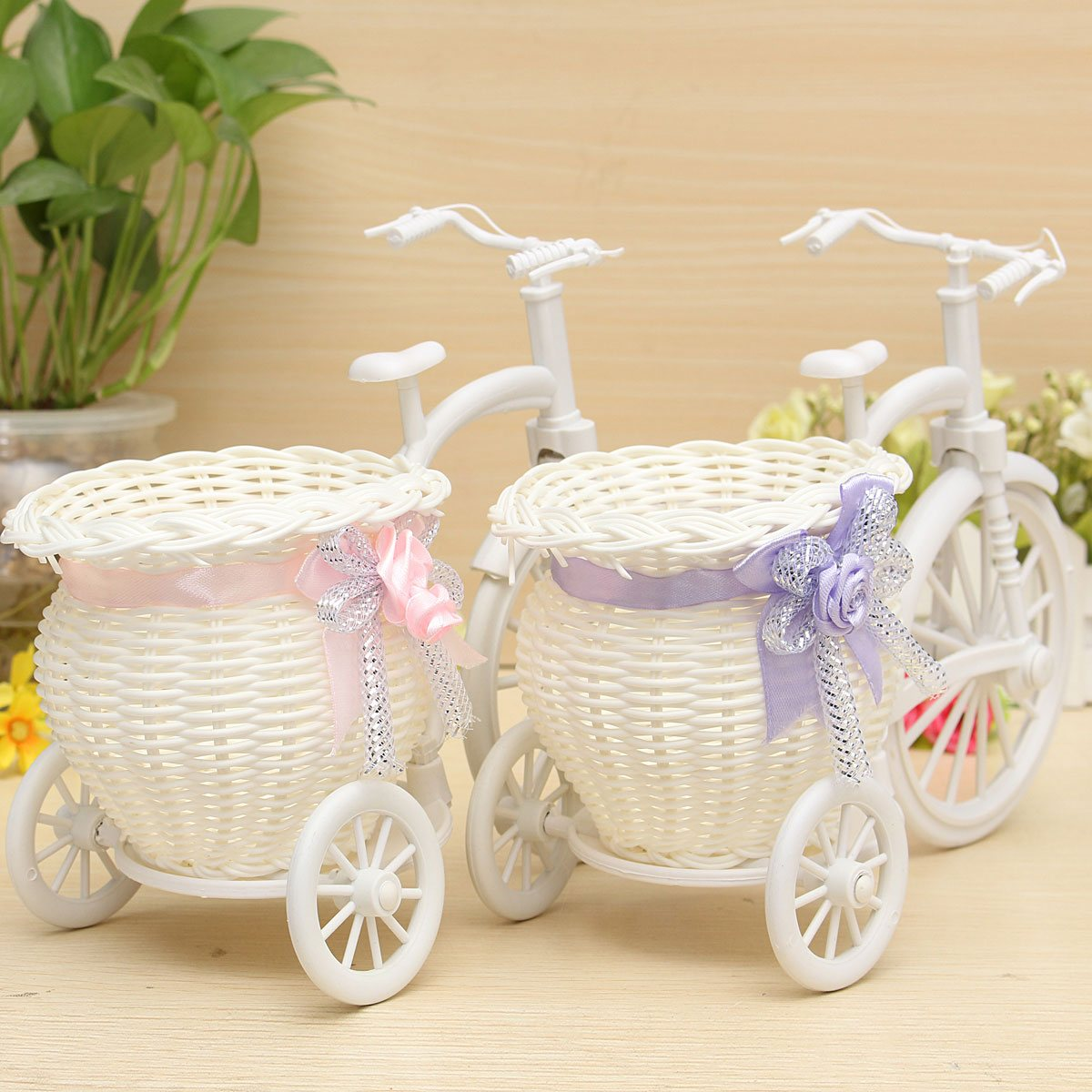Beauty Rattan Tricycle Bike Flower Basket Vase Storage Garden Wedding Party Decoration Office Bedroom Holding Candy Gift(China (Mainland))