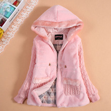Female winter child outerwear with a hood cotton-padded clothing child thickening autumn women's