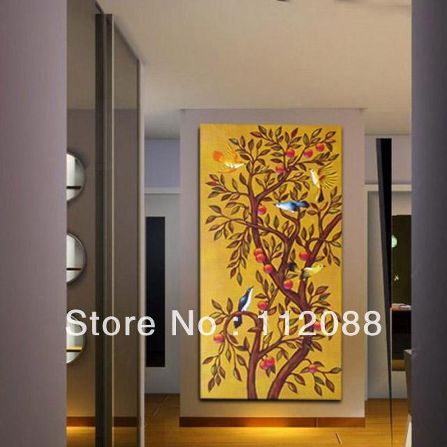 ! Modern absrtact acrylic oil paintingson canvas,living room wall art,tree birds astract art painting sale - Hand made paintings store