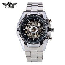 Hot 2016 Winner Luxury Brand Sports Men's Automatic Skeleton Mechanical Military Wrist watch Men full Steel Stainless Band reloj(China (Mainland))