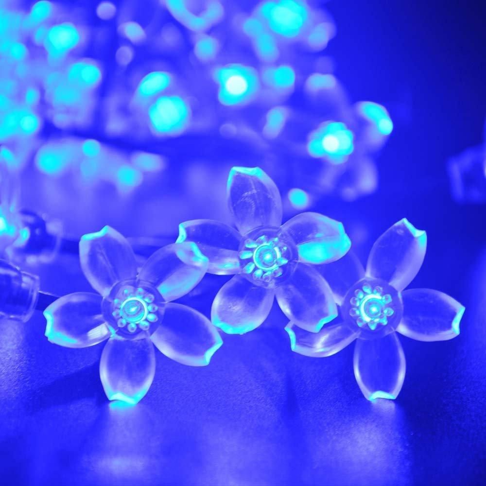 50 Solar Led String Lights Blue : Solar Blue Fairy String Lights 50 LED Blossom Decorative Gardens H100092-in Lighting Strings ...