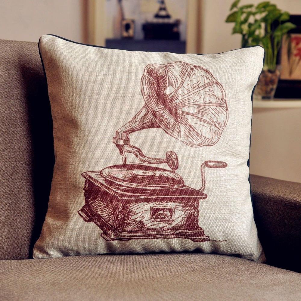 Vintage Retro Phonograph cushion cover Linen Chair Pillow