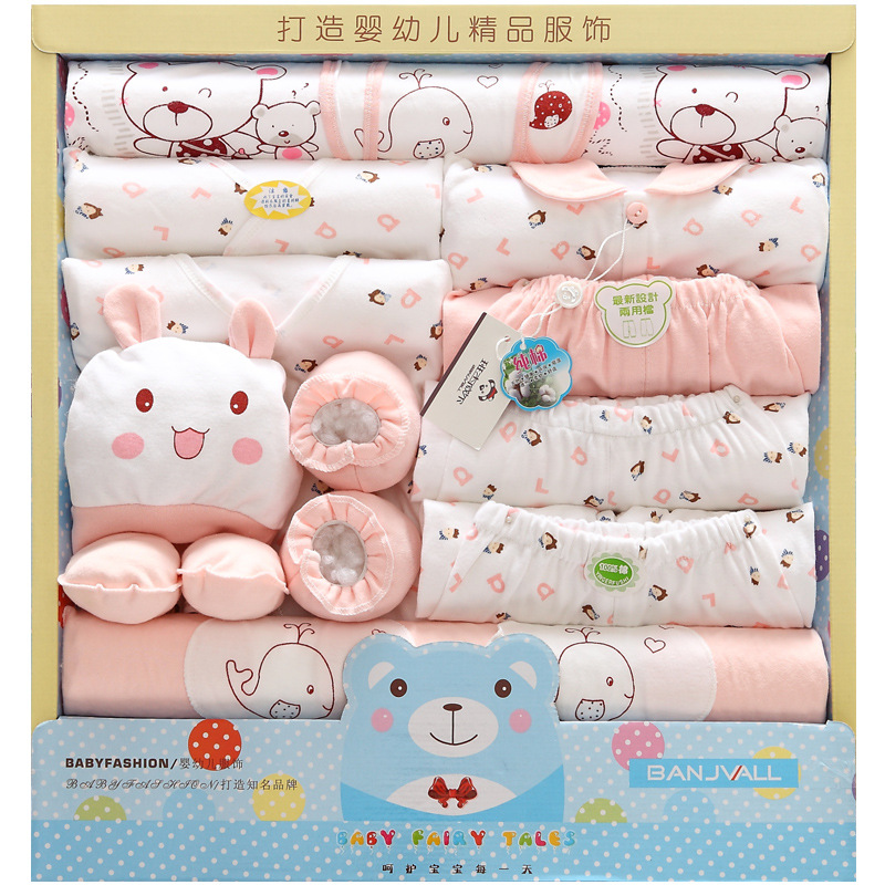 Cotton Body Suit 19 Pcs Infant Baby Girl Boy Boxed Gift Layette Set Newborn 0-6M Tops,Pants,Hat,Bib,Booties,Mittens ect(China (Mainland))