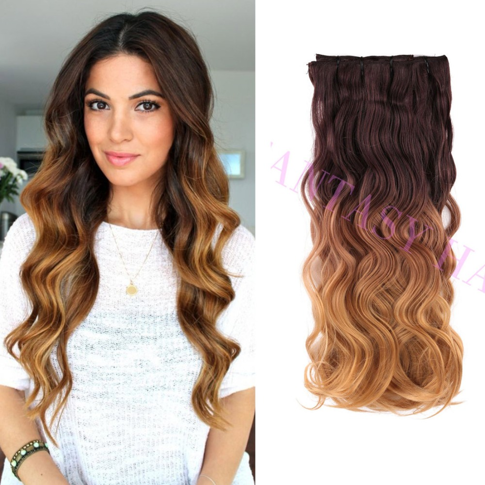 8 pcs a lot brown blonde ombre weave Brazilian body wavy full head clip in synthetic hair extensions heat resistant no shedding<br><br>Aliexpress