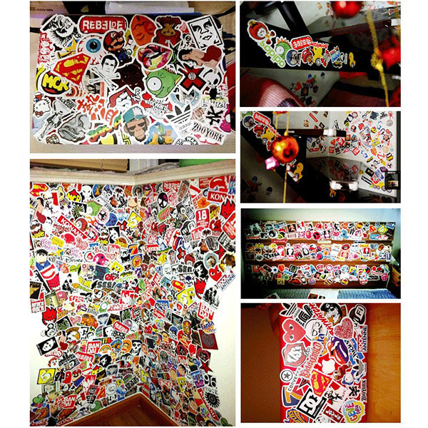 50 Pieces Stickers Skateboard Snowboard Vintage Sticker Laptop Luggage Car Bike Decals mix Lot Fashion Cool(China (Mainland))