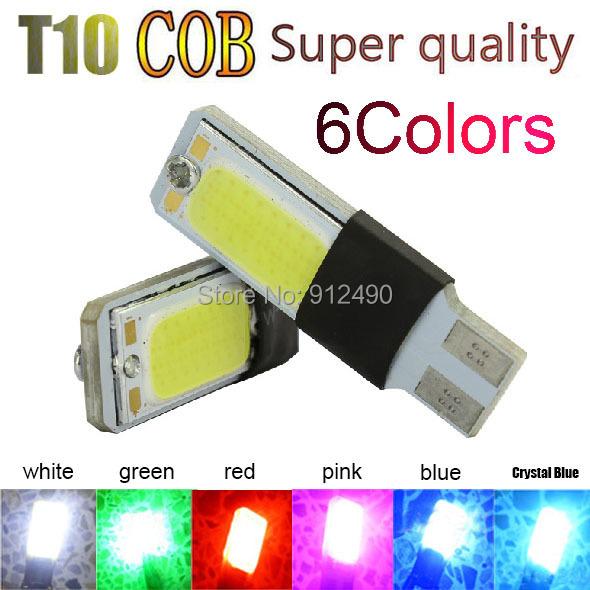 2X T10 LED 194 168 W5W COB Interior Bulb Light Parking Backup Brake Lamps Canbus No Error Cars xenon Auto Led Car 6 Color(China (Mainland))
