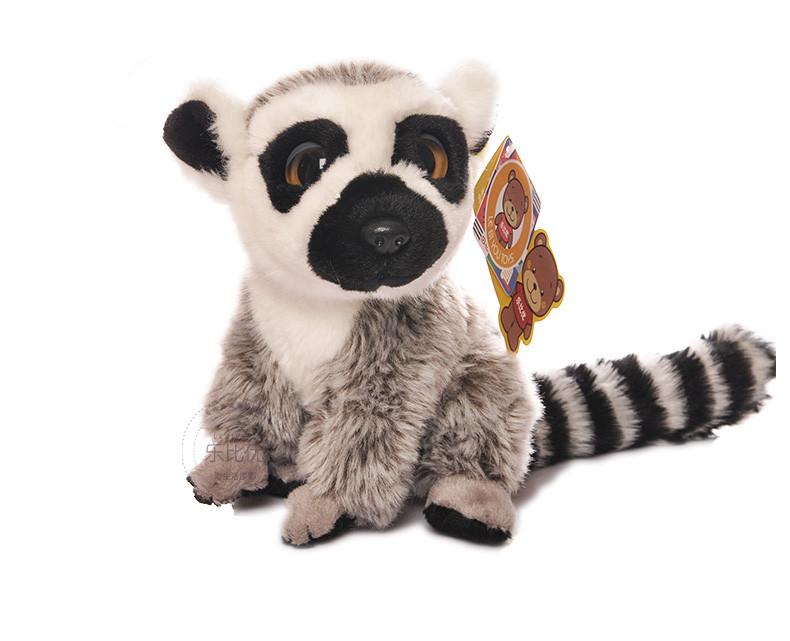 Free Shipping 18CM Simulation Lemur Stuffed Animal Toys Cute Monkey Plush Toys Baby Toys Christmas Gifts(China (Mainland))